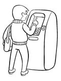 Man using ATM machine. Vector illustration of people black line isolated white background. Stock Photo