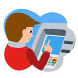 Man using ATM machine. Vector illustration of people icon Royalty Free Stock Images