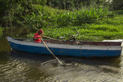 Man using a boat on river from Nicaragua Stock Photography