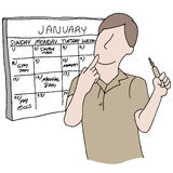 Man Using Calendar As Reminder Royalty Free Stock Image