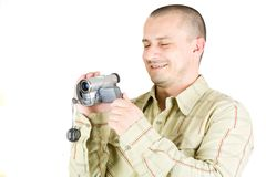 Man using camcorder Royalty Free Stock Image