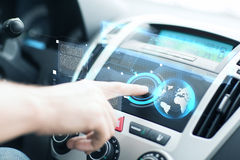 Man using car control panel Stock Photo