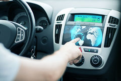 Man using car control panel Royalty Free Stock Image