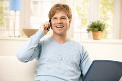 Man using cellphone Stock Photo
