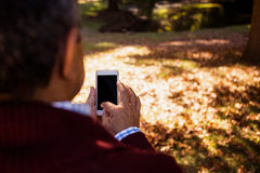 Man using cellphone in park Royalty Free Stock Images