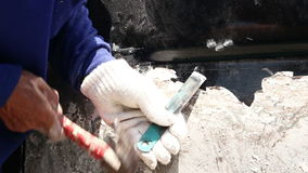Man using a chisel stock video