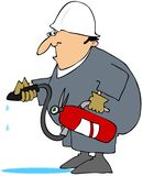 Man Using A Class A Fire Extinguisher Royalty Free Stock Photos