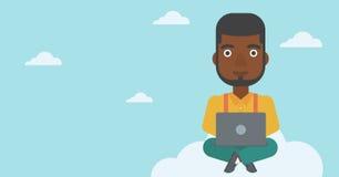 Man using cloud computing technology. Royalty Free Stock Photography