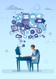 Man Using Computer With Chat Bubble Of Social Media Icons Network Communication Concept Royalty Free Stock Photos
