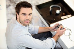 Man using computer console Royalty Free Stock Photos