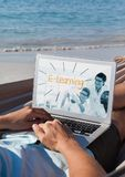 Man using a computer with e-learning information in the screen. Digital composite of Man using a computer with e-learning information in the screen Royalty Free Stock Photos
