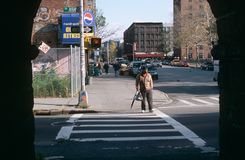 A man using a crosswalk on Park Avenue, New York City Royalty Free Stock Photography