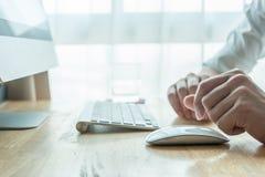 Man using desktop pc computer Stock Image