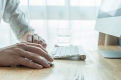 Man using desktop pc computer Stock Photos