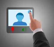 Man using digital interface to connecting video chat. Stock Photo