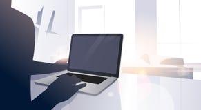Man Using Digital Laptop Computer Typing Modern Apartment Window Sun Shine Stock Photo