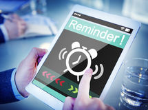 Man Using Digital Tablet with Reminder Stock Photography