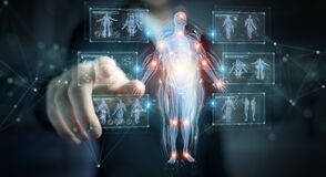 Free Man Using Digital X-ray Human Body Holographic Scan Projection 3D Rendering Royalty Free Stock Images - 173099069
