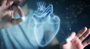 Free Man Using Digital X-ray Of Human Heart Holographic Scan Projection 3D Rendering Royalty Free Stock Photo - 173099075