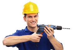 Man using drill Royalty Free Stock Images
