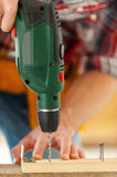 Man using drill. Stock Photo