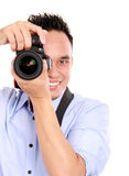 Man using dslr camera. Portrait of man using camera ready to take photo Stock Photos