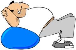 Man Using Exercise Ball Stock Photo