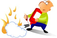 Man using fire extinguisher Royalty Free Stock Photography