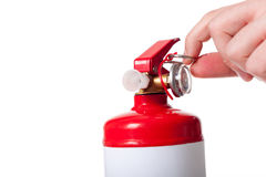 Man using fire extinguisher Royalty Free Stock Photo