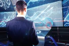 Man using futuristic benchboard closeup Royalty Free Stock Photography