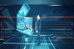 Man using futuristic benchboard side Stock Photo