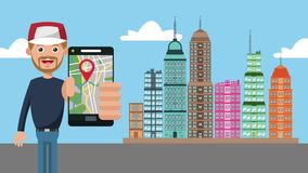 Man using GPS app at city HD animation. Man using GPS app from smartphone at city cartoons High definition coloful animation scenes stock footage