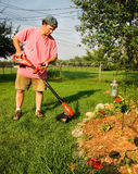 Man Using Grass Trimmer. Man using a grass trimmer in the garden Stock Photography