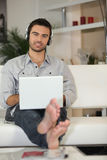 Man using headphones Royalty Free Stock Image