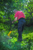 Man Using Hedge Trimmer Stock Photo