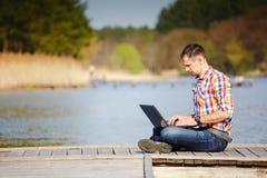 Man using his laptop computer Royalty Free Stock Image