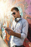 Man using his phone Stock Image
