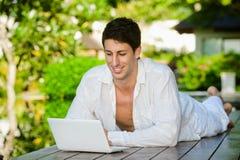 Man Using Laptop Stock Image