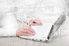 Man using laptop. Close up of male hands typing on laptop keyboard Stock Photo