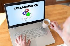 Collaboration concept on a laptop Stock Image