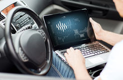 Man using laptop computer in car Stock Images