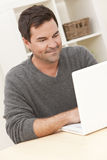 Man Using Laptop Computer At Home Royalty Free Stock Image