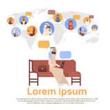 Man Using Laptop Computer Muslim People Chat Media Communication Social Network Arabic Men and Women Over World Map. Flat Vector Illustration stock illustration