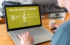 Online music lesson concept on a laptop Royalty Free Stock Images