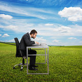 Man using laptop at outdoor Stock Photography