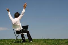 Man using laptop outdoors stock photos