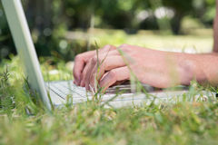 Man using laptop in the park Stock Images