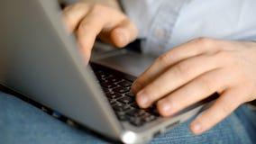 Man using laptop. Man using laptop pc. Close-up view stock footage