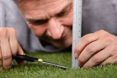 Man Using Measuring Scale While Cutting Grass royalty free stock image