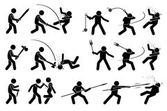 Man using medieval war weapons to attack. Royalty Free Stock Photos